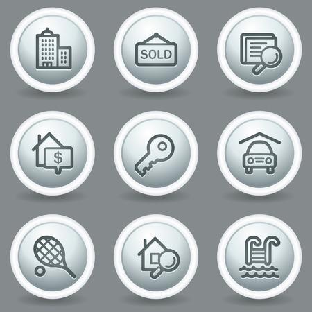 Real estate web icons, circle grey matt buttons Stock Vector - 23014407