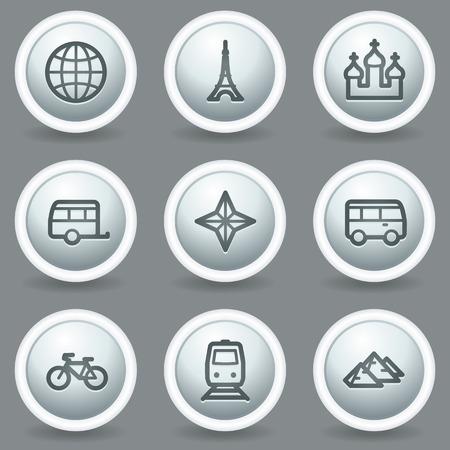 matt: Travel web icons set 2, circle grey matt buttons
