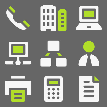 Office web icons, white and green on grey Vector