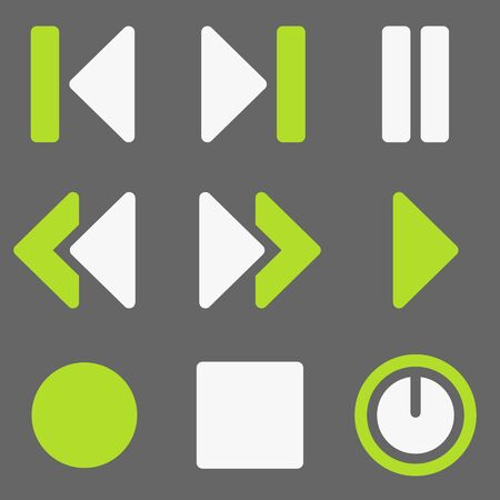 record player: Media player web icons, white and green on grey