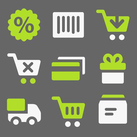 Shopping web icons, white and green on grey Vector