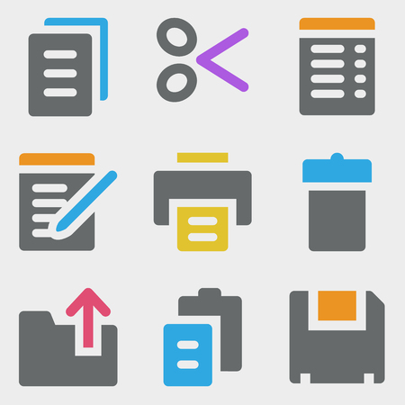 Document web icons color icons Stock Vector - 23052909