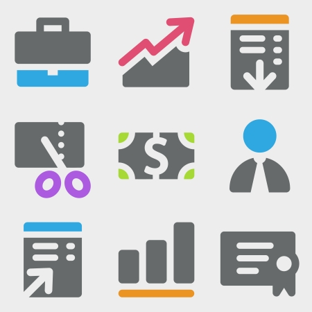 stock broker: Finance web icons color icons