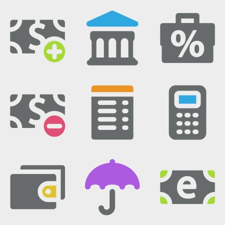 Finance web icons color icons Vector