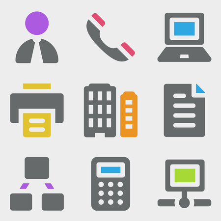Office web icons color icons Vector