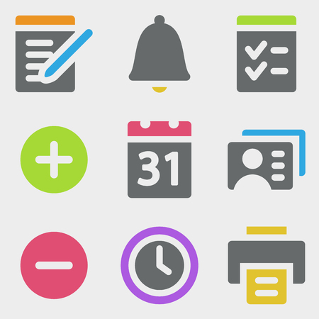 Organizer web icons color icons Vector