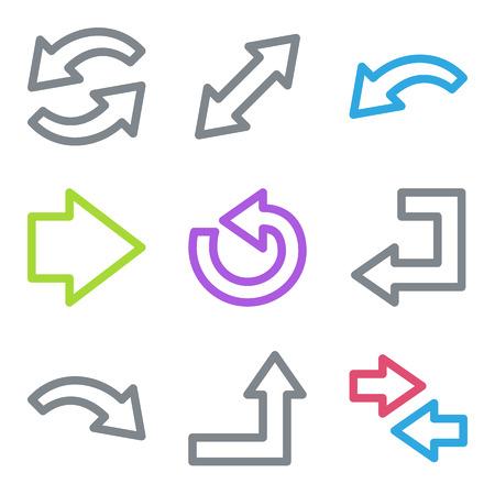 Arrows web icons, color line contour series