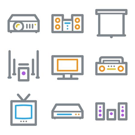 Audio video web icons, color line contour series Vector