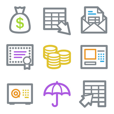 Banking web icons, color line contour series Vector