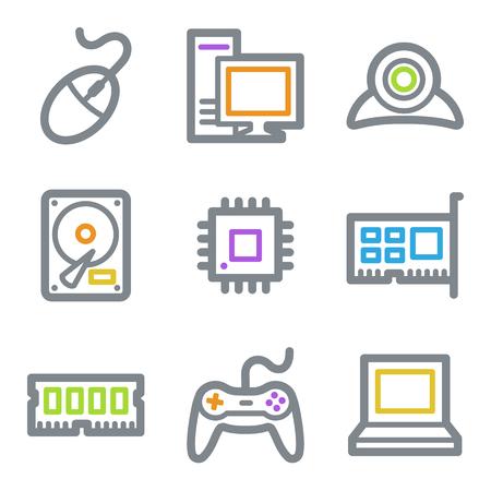 Computer web icons, color line contour series Vector