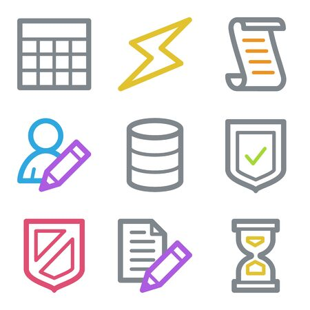 Database web icons, color line contour series Vector