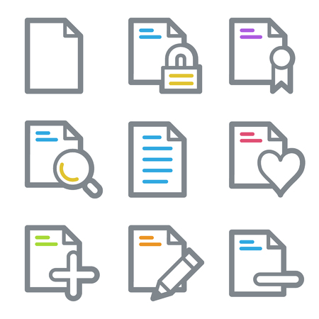 edit icon: Document web icons, color line contour series