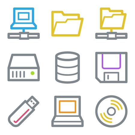 fdd: Drive storage web icons, color line contour series