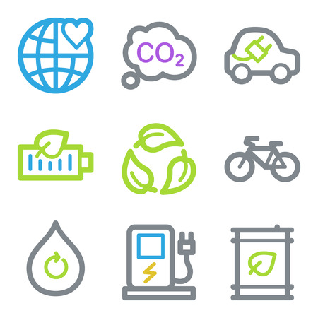 electro world: Ecology web icons, color line contour series