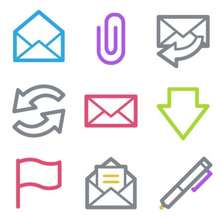 E-mail Web Icons, Color Line Contour Series Royalty Free Cliparts ...