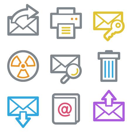 webmail: E-mail web icons, color line contour series Illustration