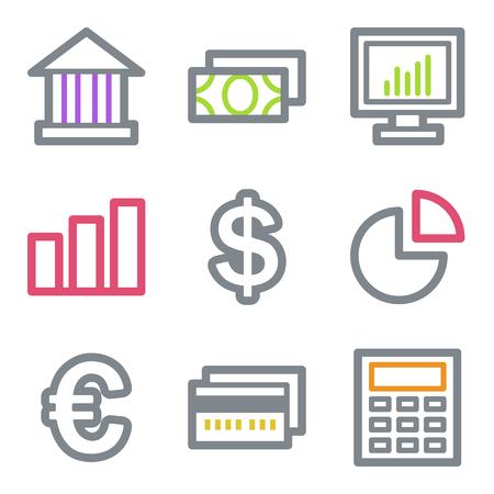 Finance web icons, color line contour series Illustration