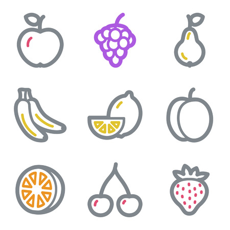 Fruits web icons, color line contour series Vector