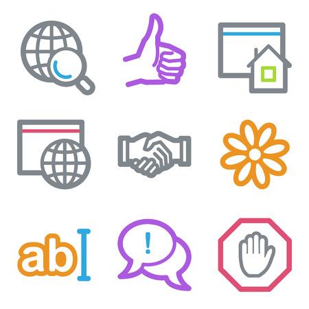 icq: Internet web icons, color line contour series