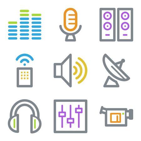Media web icons, color line contour series