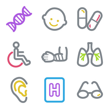 pulmones: Medicine web icons, color line contour series