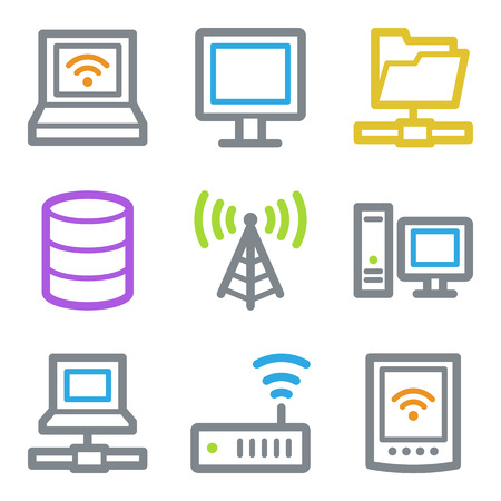 access point: Network web icons, color line contour series