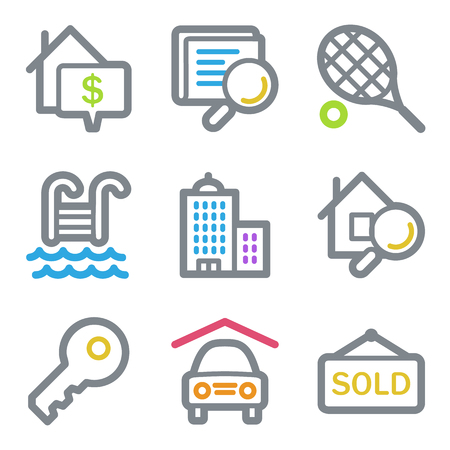 real tennis: Real estate web icons, color line contour series