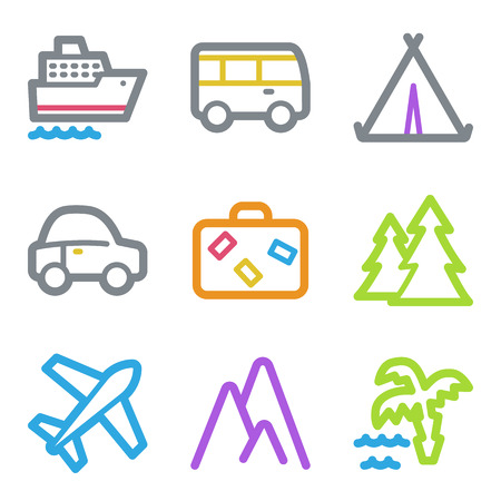 Travel web icons, color line contour series Vector