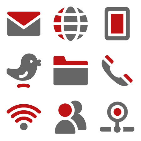 webcamera: Communication web icons, dark red and grey