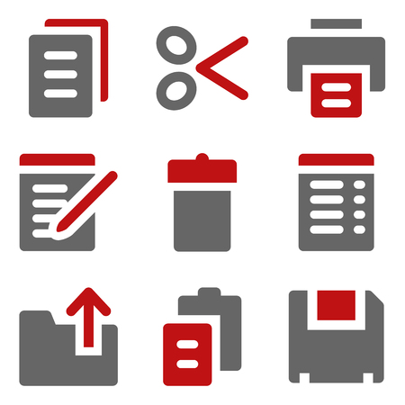 Document web icons, dark red and grey Vector