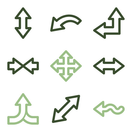 width: Arrows icons, green line contour series