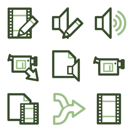 edit icon: Audio video edit icons, green line contour series