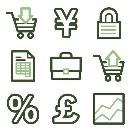 invoice: Business icons, green line contour series Illustration