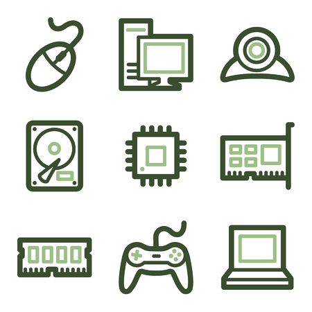 nettop: Computer icons, green line contour series