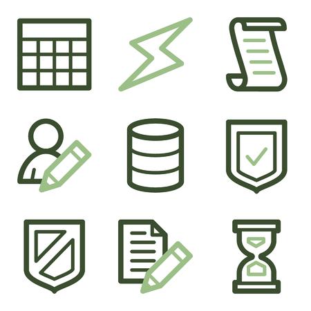 data storage: Database icons, green line contour series Illustration