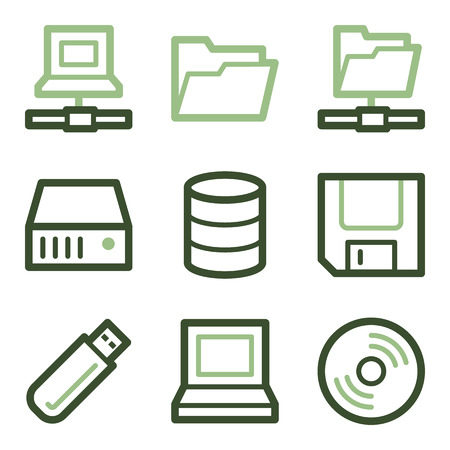 fdd: Drive and storage icons, green line contour series Illustration