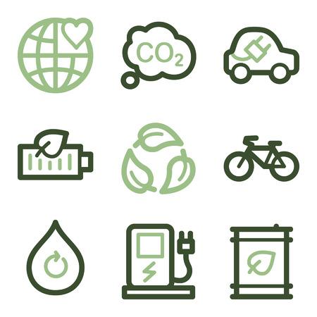 electro world: Ecology icons, green line contour series
