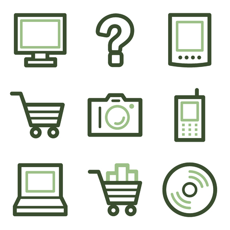 Electronics icons, green line contour series Vector