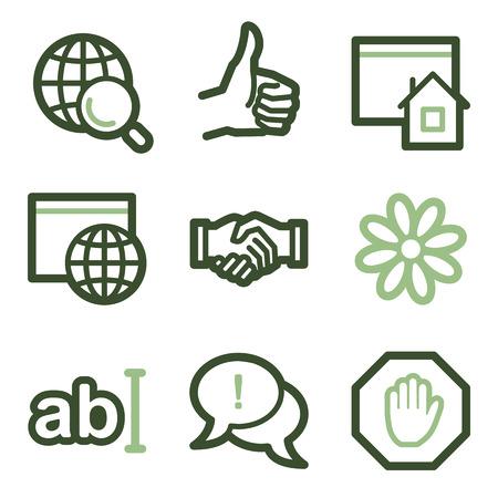 Internet icons, green line contour series Illustration
