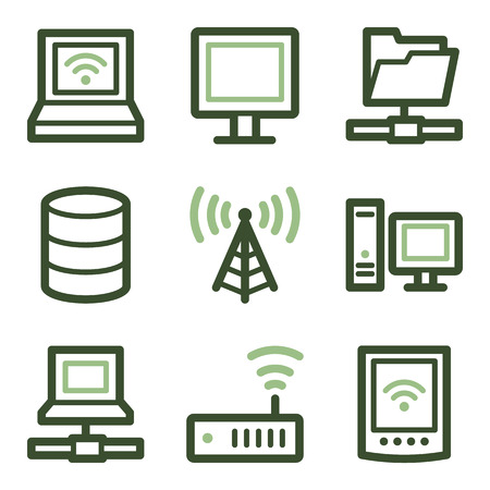 access point: Network icons, green line contour series Illustration