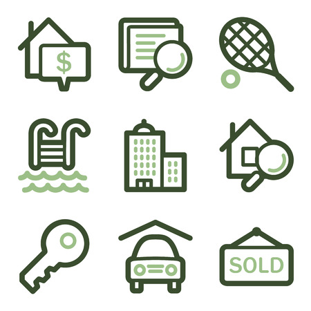 Real estate icons, green line contour series Stock Vector - 23056503