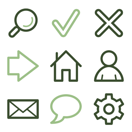 Basic web icons, green line contour series Stock Vector - 23056641
