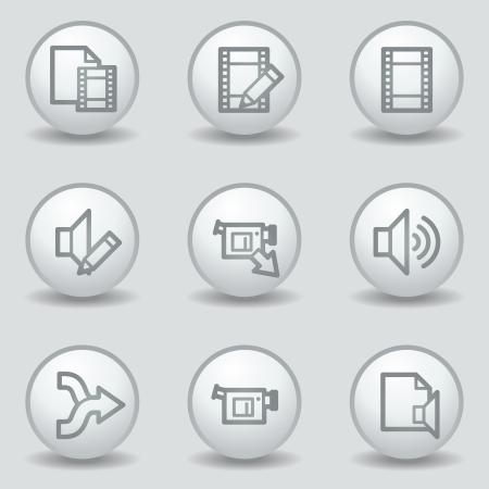 matt: Audio video edit  web icons, circle white matt buttons