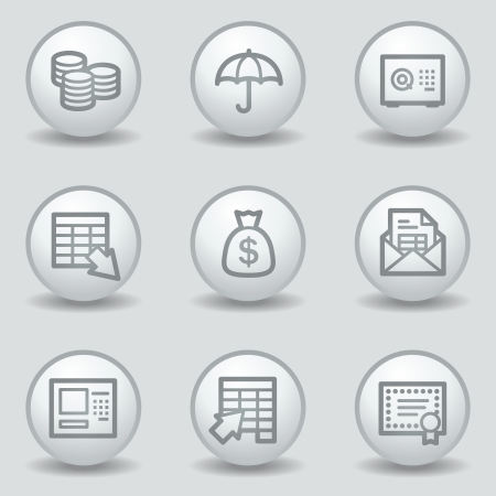 Banking  web icons, circle white matt buttons Vector