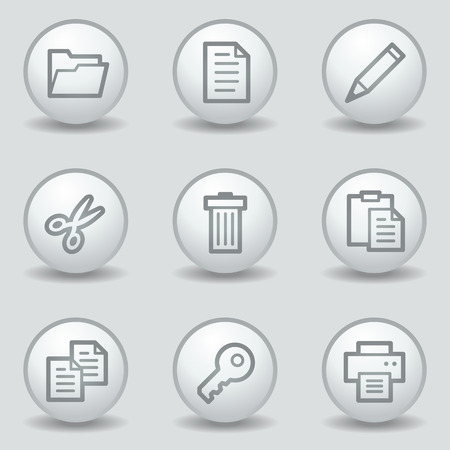 copy: Document web icons set 1, circle white matt buttons