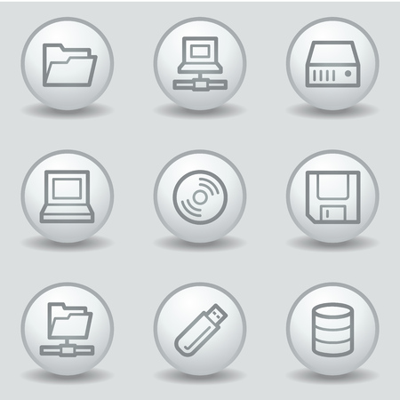 fdd: Drives and storage web icons, circle white matt buttons