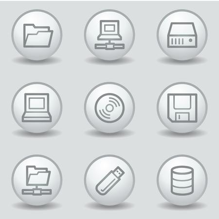 matt: Drives and storage web icons, circle white matt buttons