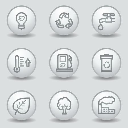 Ecology web icons set 1, circle white matt buttons Vector