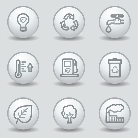 matt: Ecology web icons set 1, circle white matt buttons