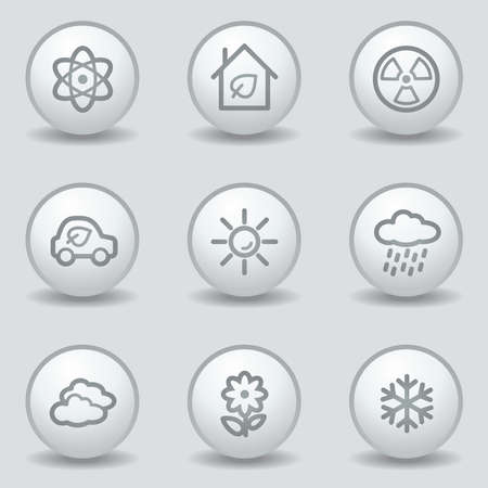 Ecology web icons set 2, circle white matt buttons Stock Vector - 23056919
